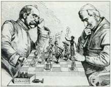 Le Kulturkampf: Bismarck jouant aux échecs contre le pape