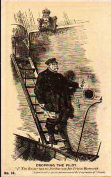 Bismarck «débarqué». Caricature de la revue anglaise «Punch» du renvoi de Bismarck par GuillaumeII