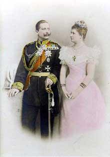 L'empereur GuillaumeII et sont épouse