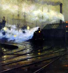Lionel Walden: les docks de Cardiff. 1894. Huile sur toile, 127 x 193 cm. Paris, Musée d'Orsay. Cardiff est très active vers 1900: les trains chargés de Houille y arrivent des mines du Pays de Galles