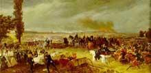 La bataille de Koniggrätz ou Sadowa, le 3 juillet 1866, assure l'hégémonie de la Prusse sur le monde germanique. Tableau de Georg Bleibtreu