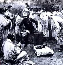 L'œuvre humanitaire des médecins français à Madagascar. Revue «Illustration» du 28 mars 1903: le coté «propagande» du colonialisme