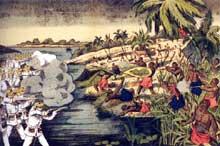 La répression coloniale: écrasement au Cameroun de la révolte des Doualas par les Allemands en 1884. Lithographie