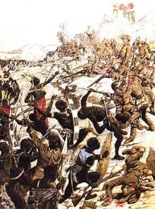 Combat dans le Sud Ouest Africain entre soldats allemands et Hereros en 1904, bataille d'Onganjira. Illustration du «Petit Journal»