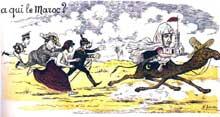 La question du Maroc vue par la caricature en 1906. AlphonseXIII d'Espagne, EdouardVII, GuillaumeII et Marianne poursuivent le Sultan du Maroc