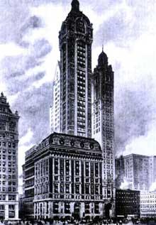 Le «gratte ciel» Singer construit à New York en 1908: le symbole de la puissance américaine