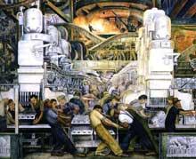 L'économie américaine, la première du monde, se fonde sur le taylorisme qui prône la production en série et le travail à la chaîne: travail aux Usine Ford de Detroit. Tableau de Diego Rivera. 932. Detroit, Art Institute