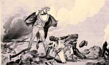 L'Oncle Sam (Etats-Unis) se prépare à intervenir dans le conflit mettant aux prises l'Espagne et Cuba. «Pour la cause de l'humanité, dit-il, il est de mon devoir de les séparer.». Gravure humoristique parue dans le Puck, le 20 avril 1898