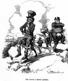 Caricature du colonialisme américain vers 1900