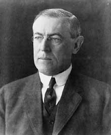 Woodrow Wilson (1859-1924), président des Etats-Unis de 1913 à1921 et créateur des fameux «14 points