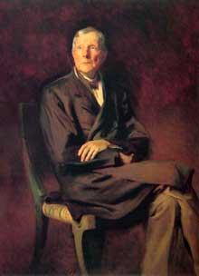 John Davison Rockefeller (1839–1937) fait fortune dans l'industrie du pétrole et est considéré comme l'homme le plus riche de l'ère moderne. Portrait de John Singer Sargent (1917