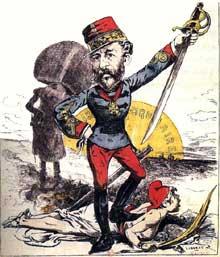 «BoulangerIer, empereur». Caricature du «Grelot», 29 mai 1897