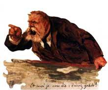 La grande figure politique du socialisme français, Jean Jaurès, haranguant les députés français à l'Assemblée nationale. Vincent Eloy, huile sur toile, 1910