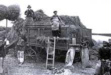Moissonneuse batteuse en Beauce en 1905