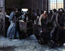 La remonte au jour dans une mine du nord. Gravure de Louis Sabattier parue en 1903 dans l'«Illustration». Paris, Bibliothèque des Arts-déco