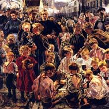 Le monde ouvrier par L Frédéric. Détail du triptyque «Les âges de l'ouvrier». Huile sur toile, 163 x 376 cm. 1895 1897. Paris, musée d'Orsay