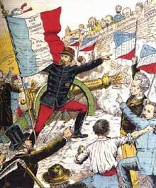 «Le général Boulanger à l'assaut de la Bastille parlementaire». Affiche de propagande boulangiste, 1897
