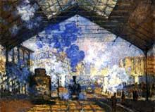 Le chemin de fer, symbole de la révolution industrielle. La gare saint Lazare par Claude Monet. 1875. Huile sur toile, 450 x 345 cm. Paris, musée Marmottant
