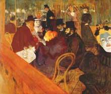 La France de la «Belle époque»: France riche et aisée de la grande bourgeoisie, France d'Aristide Bruant, du cabaret, du Moulin rouge… Henri de Toulouse Lautrec saura la décrire avec son humour grinçant… Ici, une de ses œuvre; «Au moulin rouge»