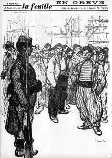 Théophile Steinlein (1859-1923): «En grève». Couverture de «La feuille»