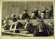 Le procès du Panama en cour d'assises. Le banc des accusés. L'Illustration, 18 mars 1893