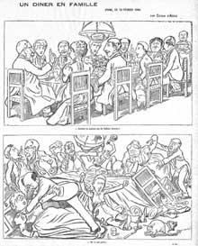 Dessin célèbre de Caran d'Ache (1858-1909), antisémite notoire dans le Figaro du 14 février 1898