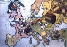 «Alerte, les chiens aboient!»: carte humoristique de l'Europe à la veille du premier conflit mondial