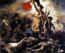 Eugène Delacroix: la liberté guidant les peuples. Cette toile, réalisée pour immortaliser les «trois glorieuses de 1830», devient un symbole universel. Huile sur toile 260 × 325 cm. Paris, Musée du Louvr