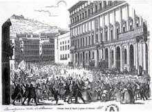 Proclamation de la constitution italienne à Naples, le 14 février 1848