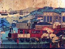 L'industrialisation japonaise vers 1880 d'après une estampe