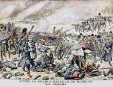 Guerre russo-japonaise: après la bataille de Moukden, l'armée russe bat en retraite. Illustration du «Petit Journal illustré» du 26 mars 1905