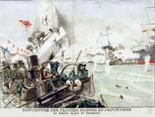 Guerre russo-japonaise: la bataille navale de Tsushima (27 mai 1905) est un véritable désastre pour la flotte russe. Illustration du «Petit Journal illustré» du 11 juin 1905