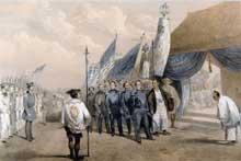 Le commodore Mattew Perry de l'US Navy reçoit les ambassadeurs de l'empereur à Yokohama. U. S. Naval Academ