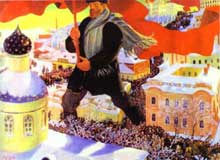 La révolution d'octobre. Tableau de Boris Kustodiyev, 1920. Huile sur toile. Moscou, galerie Trétiakov