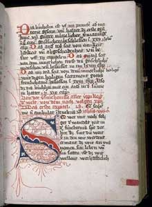 Thomas a Kempis: page de l'imitation de Jésus Christ. Vers 1400. (Histoire de l'art - Quattrocento
