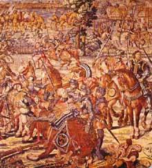 Bernaert Van Orley (1491-1542): la bataille de Pavie. Tapisserie du XVIe siècle exécutée à Bruxelles d