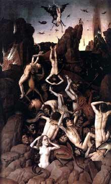 Dierk Bouts (1415-1475): l'enfer. 1450, huile sur bois, 115 x 69,5 cm. Lille, musée des Beaux-Arts. (Histoire de l'art - Quattrocento