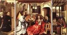 Robert Campin (1375-1444): le retable de Mérode. Vers 1427; huile sur bois; 64,1 x 117,8cm. New York, Metropolitan Museum of Art. (Histoire de l'art - Quattrocento