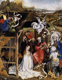 Robert Campin (1375-1444): la «Nativité» de Dijon. 1420. Huile sur bois. 87 x 70 cm. Dijon, musée des Beaux Arts. (Histoire de l'art - Quattrocento