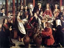 Gérard David (1460-1523): les noces de Cana. Vers 1500. Huile sur panneau de bois. 100 x 128cm. Paris, musée du Louvre. (Histoire de l'art - Quattrocento