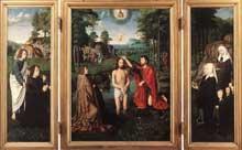 Triptyque de Jean Des Trompes. 1505. Huile sur bois, 129,7 x 96,6 cm (panneau central), 132 x 43 cm (panneau latéral). Bruges, Groeninge Museum. (Histoire de l'art - Quattrocento