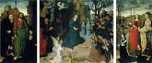 Hugo van der Goes (1440-1482): le triptyque Portinari. 1476-1479. Huile sur bois, 253 x 586 cm. Florence, galerie des Offices. (Histoire de l'art - Quattrocento