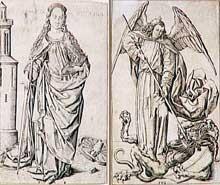Maître FVB (actif entre 1475 et 1500): Sainte Catherine et Saint Michel terrassant le Démon. New york, Metropolitan Museum of Art. (Histoire de l'art - Quattrocento