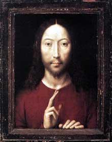 Hans Memmling (1440-1494): Christ bénissant. 1481. Huile sur panneau de chêne, 34,8 x 26,2 cm. Boston, Museum of Fine Arts. (Histoire de l'art - Quattrocento