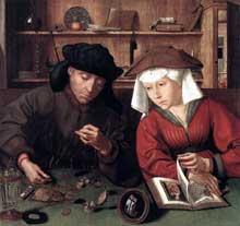 Quentin Massys (ou Metsys, 1465-1530): le changeur de monnaie et son épouse. 1514, 71 x 68 cm, huile sur bois. Paris, musée du Louvre