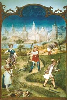 La fenaison. Page du Bréviaire Grimani. Vers 1510.Bilbliothèque Marciana, Venise, cod. Lat. I,99 (Histoire de l'art - Quattrocento