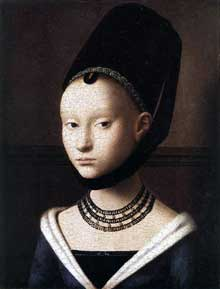 Petrus Christus (1410-1475): Portrait de jeune fille. Après 1460. Huile sur bois, 29 x 22,5 cm. Berlin, Staatliche Museen. (Histoire de l'art - Quattrocento