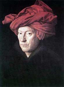 Jan van Eyck (1390-1441): l'homme au turban. 1433, huile sur bois, 25,5 x 19 cm. Londres, National Gallery. (Histoire de l'art - Quattrocento
