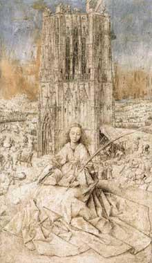 Jan van Eyck (1390-1441): Sainte Barbe. 1437, grisaille sur bois, 31 x 18 cm. Anvers, Koninklijk Museum voor Schone Kunsten. (Histoire de l'art - Quattrocento