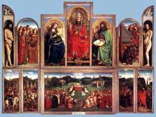 Jan van Eyck (1390-1441): le retable de l'Agneau Mystique. 1432. Huile sur bois, 350 x 461 cm. Gand, église saint Bavon. (Histoire de l'art - Quattrocento